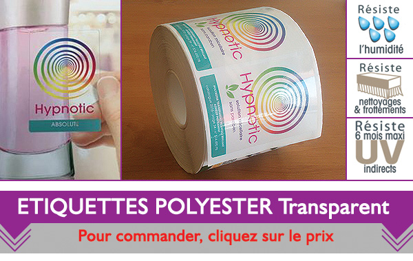 Impression Etiquette polyester transparent
